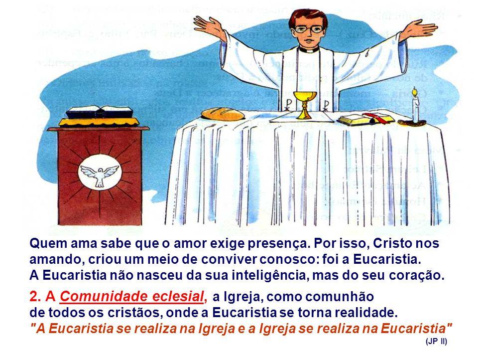 1. A Eucaristia ou a Ceia do Senhor: como memorial de sua gloriosa Paixão e Morte. Nela, Cristo é o Cordeiro Pascal da nova Aliança, prefigurada na ce