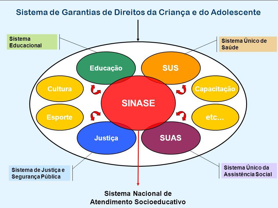 Capacitação Educação Sistema de Garantias de Direitos da Criança e do Adolescente SUS Justiça SUAS SINASE Sistema Único de Saúde Sistema Único da Assi