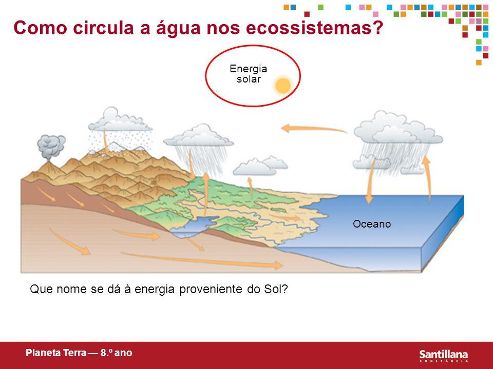 Como circula a água nos ecossistemas.Que nome se dá à energia proveniente do Sol.