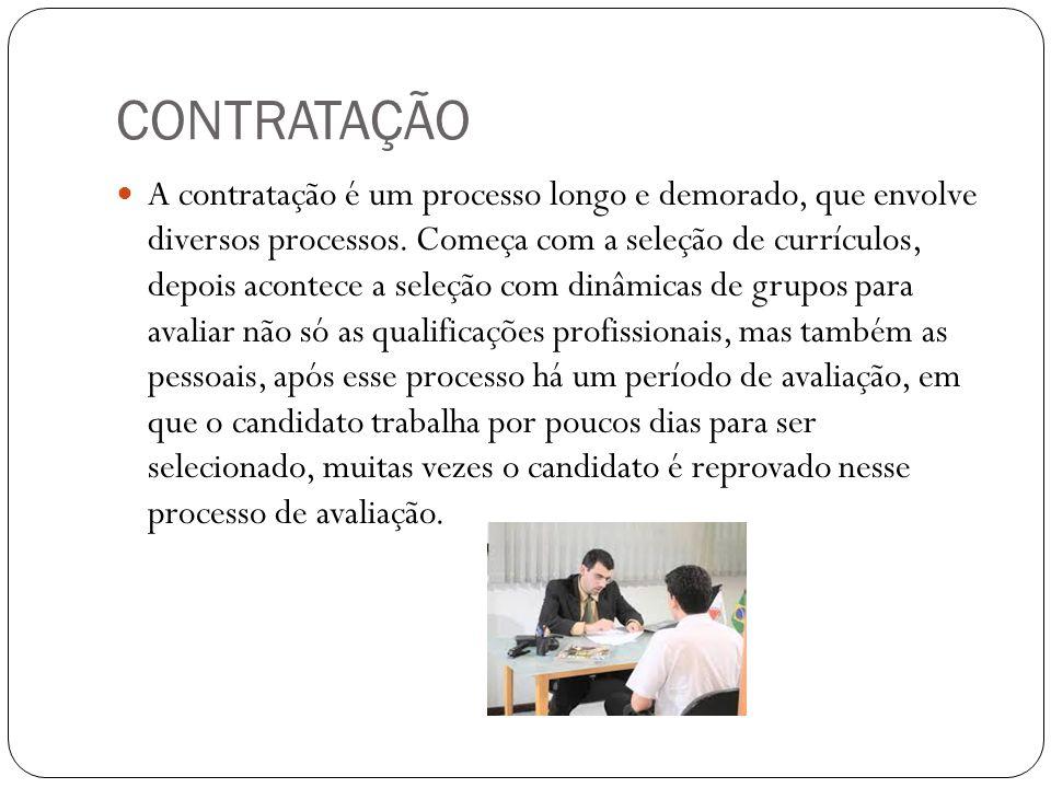 CONTRATAÇÃO A contratação é um processo longo e demorado, que envolve diversos processos. Começa com a seleção de currículos, depois acontece a seleçã