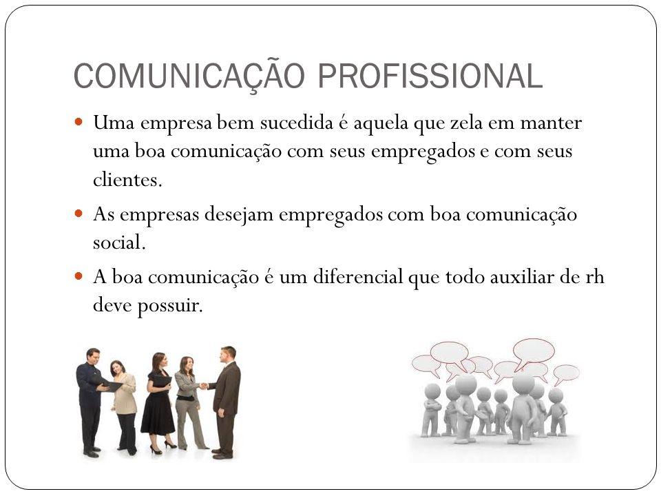 COMUNICAÇÃO PROFISSIONAL Uma empresa bem sucedida é aquela que zela em manter uma boa comunicação com seus empregados e com seus clientes. As empresas