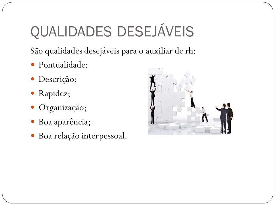 QUALIDADES DESEJÁVEIS São qualidades desejáveis para o auxiliar de rh: Pontualidade; Descrição; Rapidez; Organização; Boa aparência; Boa relação inter