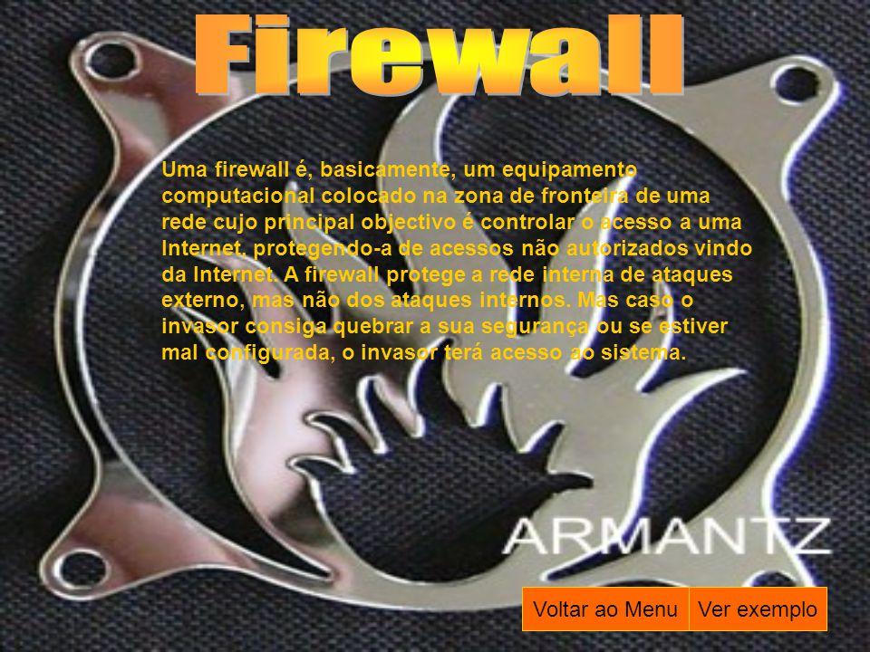 Uma firewall é, basicamente, um equipamento computacional colocado na zona de fronteira de uma rede cujo principal objectivo é controlar o acesso a um