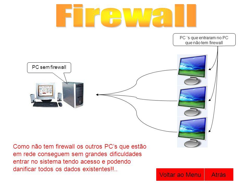 PC sem firewall PC s que entraram no PC que não tem firewall Como não tem firewall os outros PCs que estão em rede conseguem sem grandes dificuldades