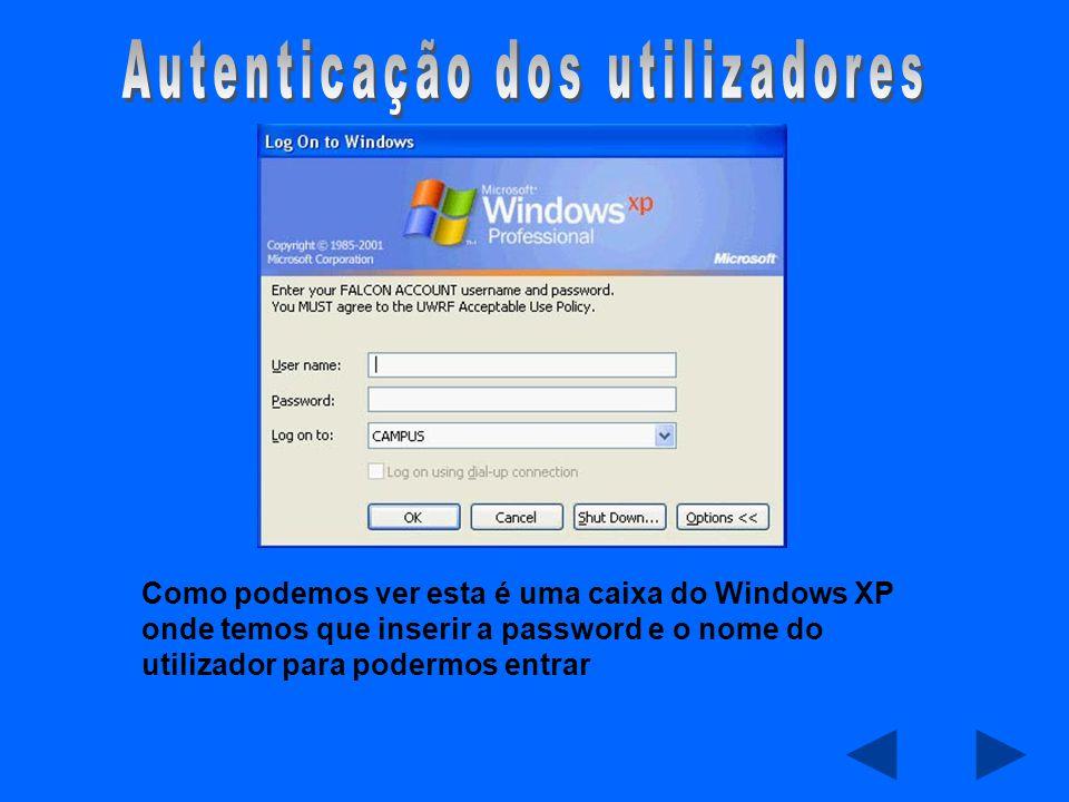 Como podemos ver esta é uma caixa do Windows XP onde temos que inserir a password e o nome do utilizador para podermos entrar
