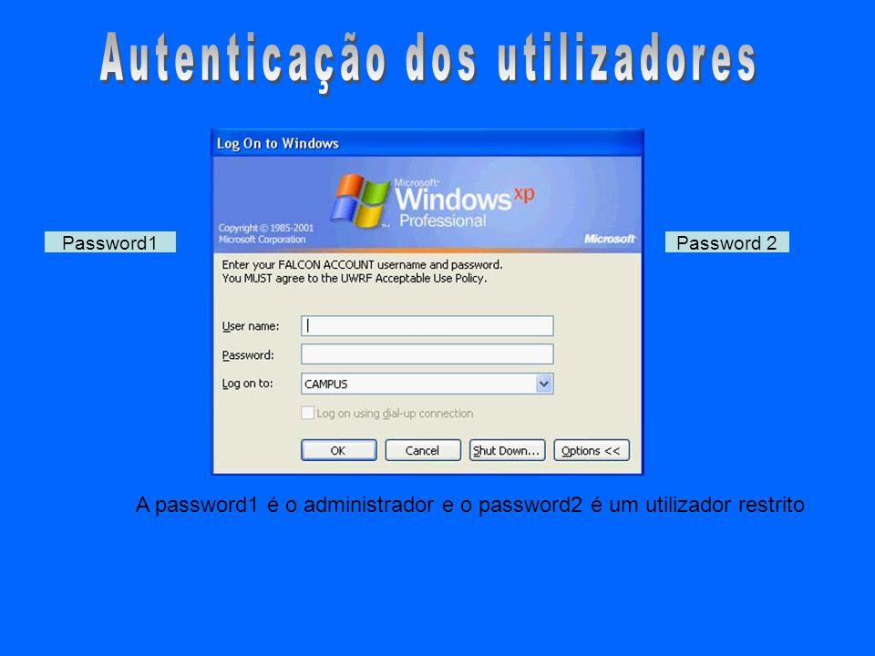 A password1 é o administrador e o password2 é um utilizador restrito Password1Password 2