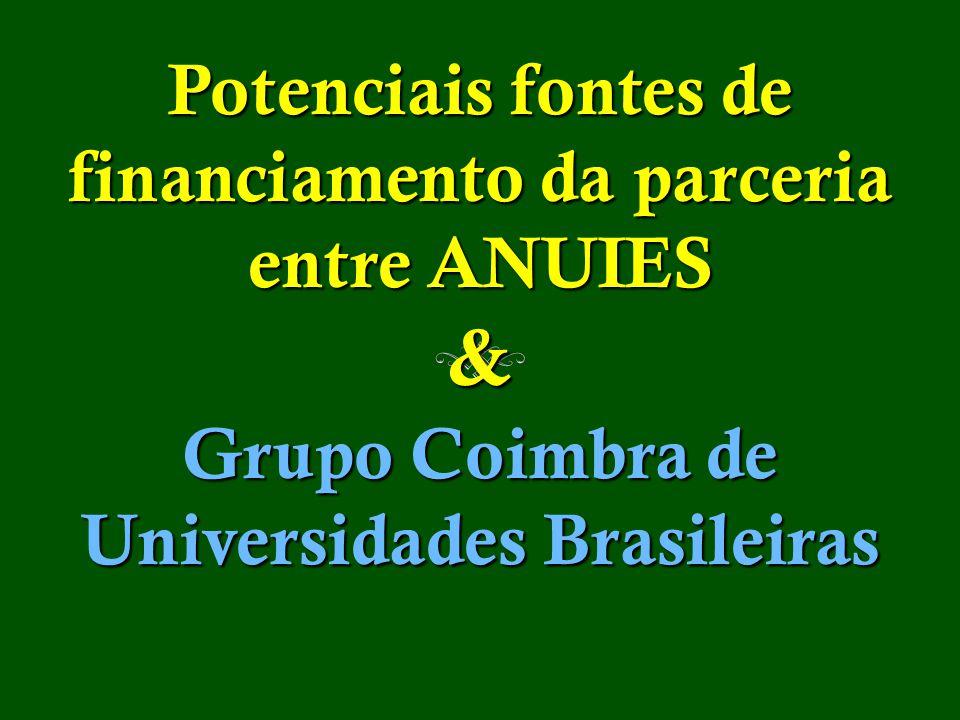 Potenciais fontes de financiamento da parceria entre ANUIES & Grupo Coimbra de Universidades Brasileiras