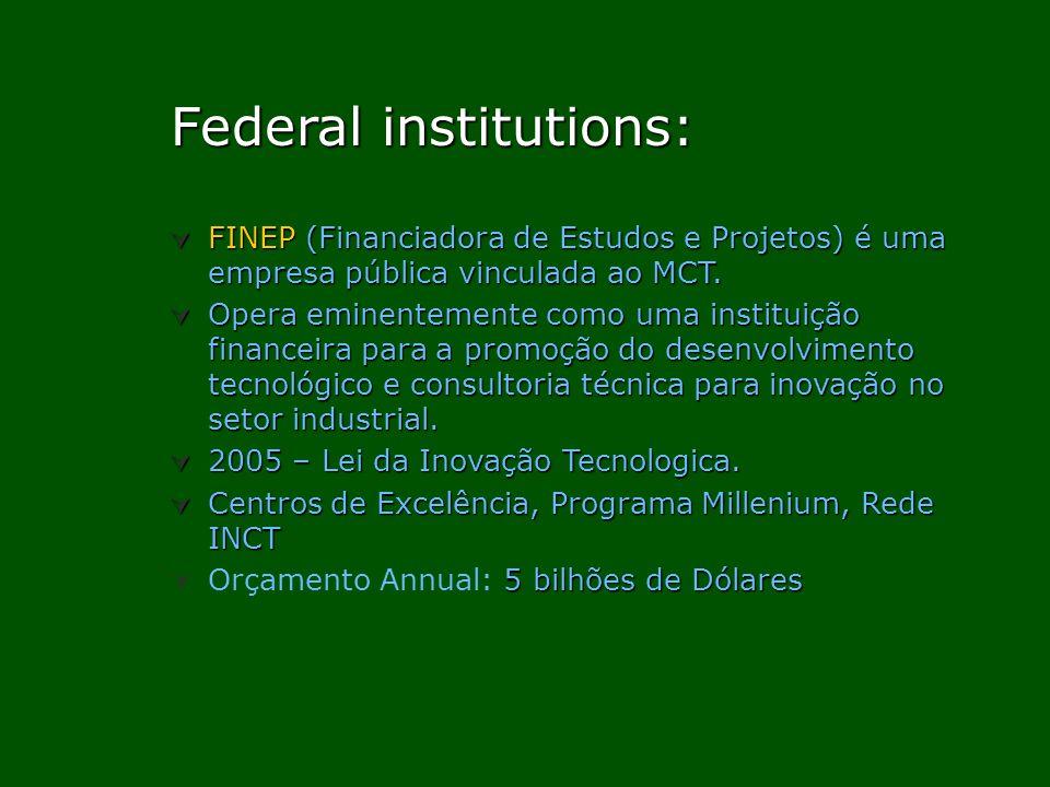 Federal institutions: Federal institutions: FINEP (Financiadora de Estudos e Projetos) é uma empresa pública vinculada ao MCT. FINEP (Financiadora de
