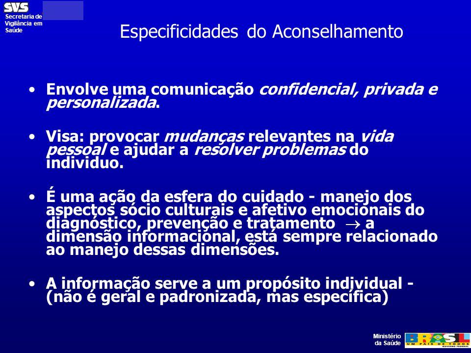 Ministério da Saúde Secretaria de Vigilância em Saúde Especificidades do Aconselhamento Envolve uma comunicação confidencial, privada e personalizada.