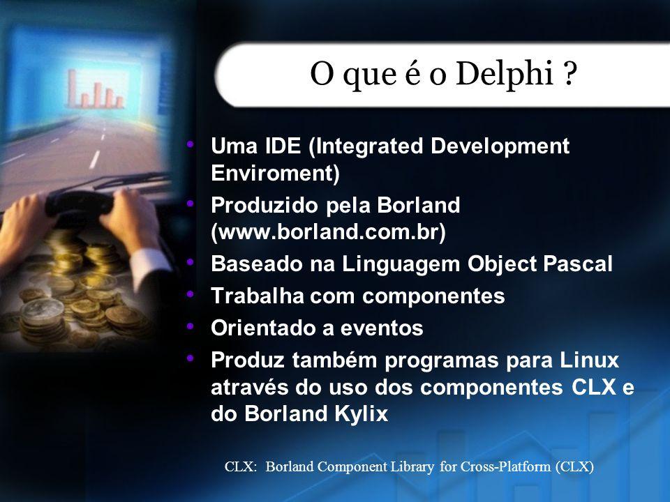 O que é o Delphi ? Uma IDE (Integrated Development Enviroment) Produzido pela Borland (www.borland.com.br) Baseado na Linguagem Object Pascal Trabalha