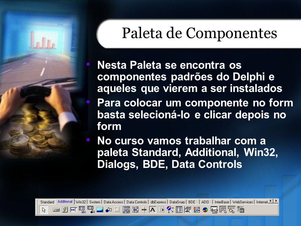 Paleta de Componentes Nesta Paleta se encontra os componentes padrões do Delphi e aqueles que vierem a ser instalados Para colocar um componente no fo