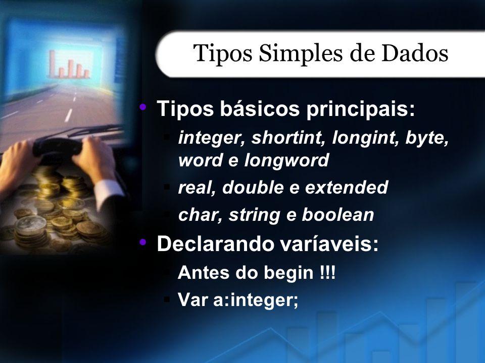 Tipos Simples de Dados Tipos básicos principais: integer, shortint, longint, byte, word e longword real, double e extended char, string e boolean Decl