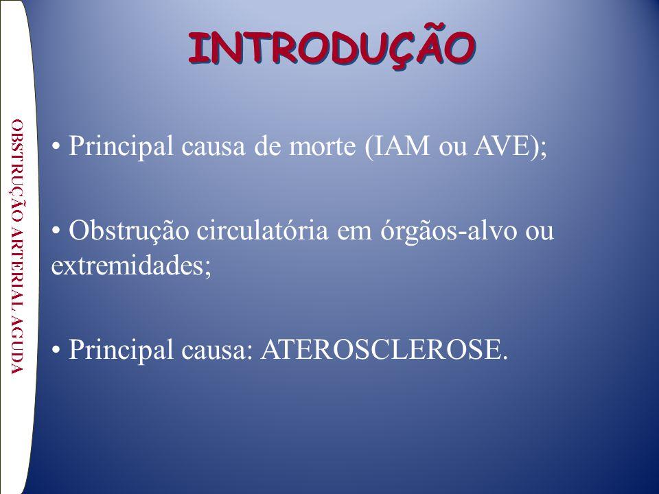 INTRODUÇÃO Principal causa de morte (IAM ou AVE); Obstrução circulatória em órgãos-alvo ou extremidades; Principal causa: ATEROSCLEROSE. OBSTRUÇÃO ART