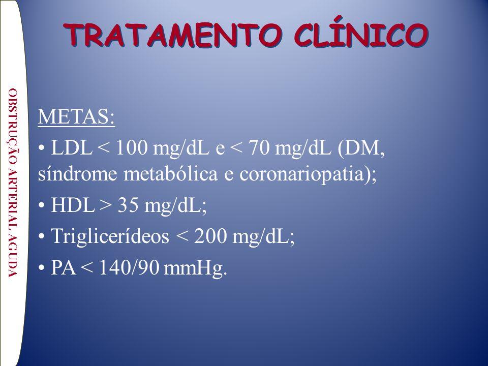 TRATAMENTO CLÍNICO METAS: LDL < 100 mg/dL e < 70 mg/dL (DM, síndrome metabólica e coronariopatia); HDL > 35 mg/dL; Triglicerídeos < 200 mg/dL; PA < 14