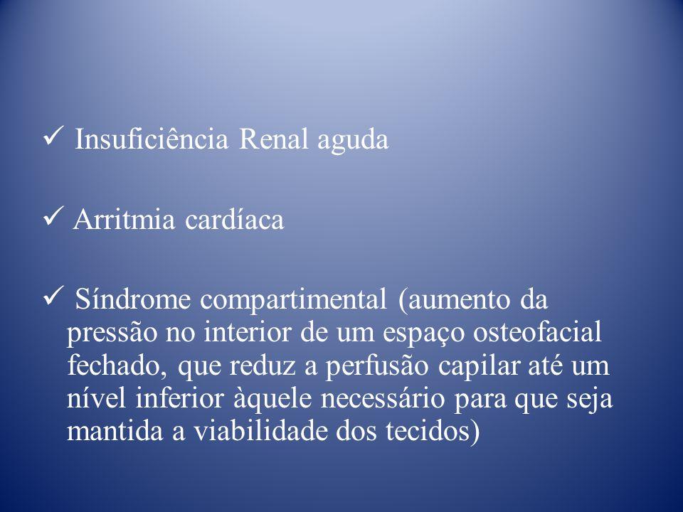 Insuficiência Renal aguda Arritmia cardíaca Síndrome compartimental (aumento da pressão no interior de um espaço osteofacial fechado, que reduz a perfusão capilar até um nível inferior àquele necessário para que seja mantida a viabilidade dos tecidos)