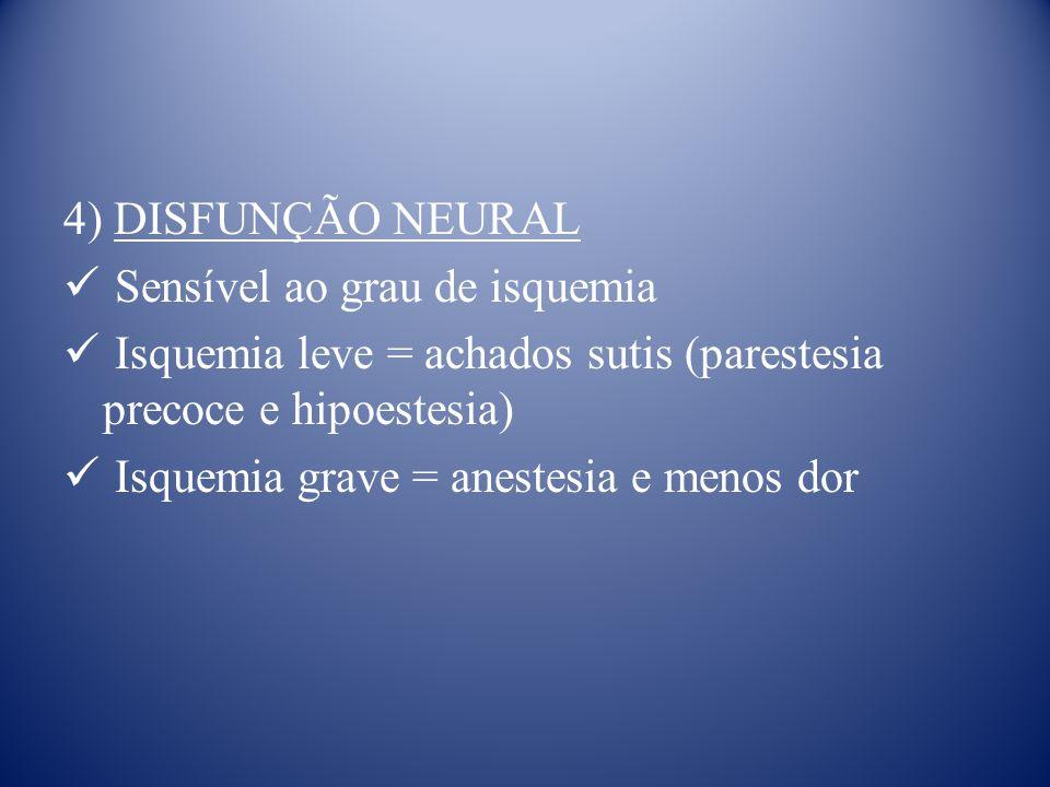 4) DISFUNÇÃO NEURAL Sensível ao grau de isquemia Isquemia leve = achados sutis (parestesia precoce e hipoestesia) Isquemia grave = anestesia e menos dor
