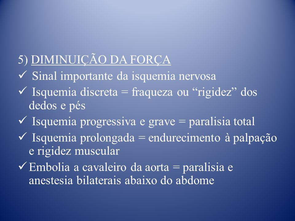 5) DIMINUIÇÃO DA FORÇA Sinal importante da isquemia nervosa Isquemia discreta = fraqueza ou rigidez dos dedos e pés Isquemia progressiva e grave = paralisia total Isquemia prolongada = endurecimento à palpação e rigidez muscular Embolia a cavaleiro da aorta = paralisia e anestesia bilaterais abaixo do abdome