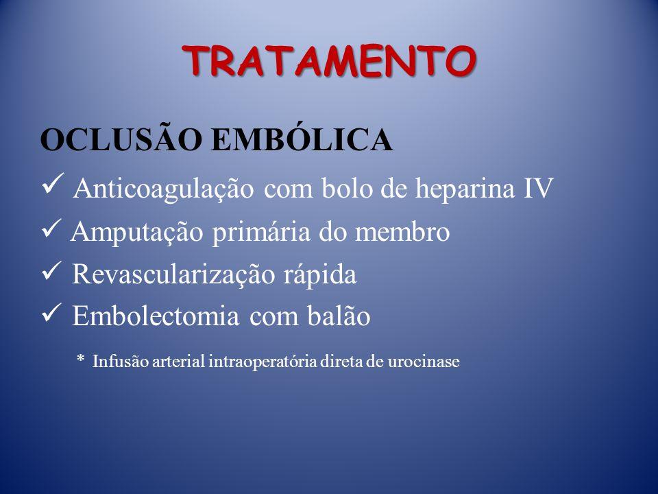 TRATAMENTO OCLUSÃO EMBÓLICA Anticoagulação com bolo de heparina IV Amputação primária do membro Revascularização rápida Embolectomia com balão * Infusão arterial intraoperatória direta de urocinase