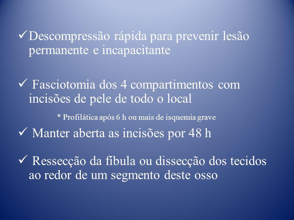 Descompressão rápida para prevenir lesão permanente e incapacitante Fasciotomia dos 4 compartimentos com incisões de pele de todo o local * Profilátic