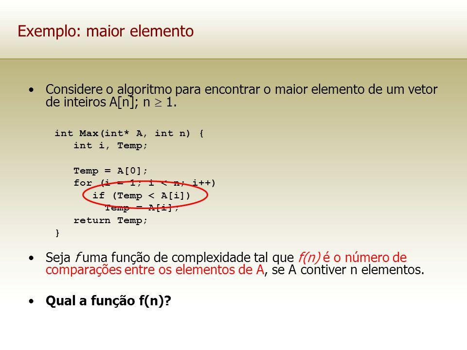 Exemplo: maior elemento Considere o algoritmo para encontrar o maior elemento de um vetor de inteiros A[n]; n 1. Seja f uma função de complexidade tal