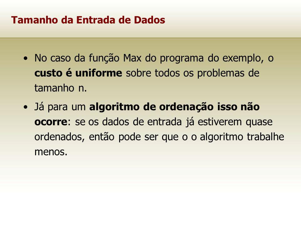 Tamanho da Entrada de Dados No caso da função Max do programa do exemplo, o custo é uniforme sobre todos os problemas de tamanho n. Já para um algorit