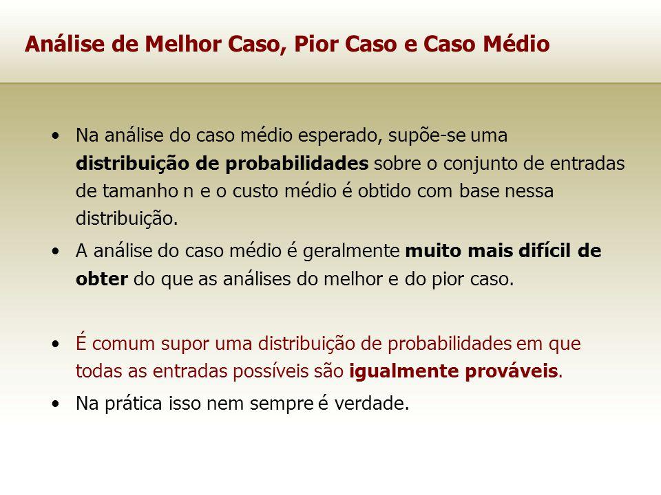 Análise de Melhor Caso, Pior Caso e Caso Médio Na análise do caso médio esperado, supõe-se uma distribuição de probabilidades sobre o conjunto de entr
