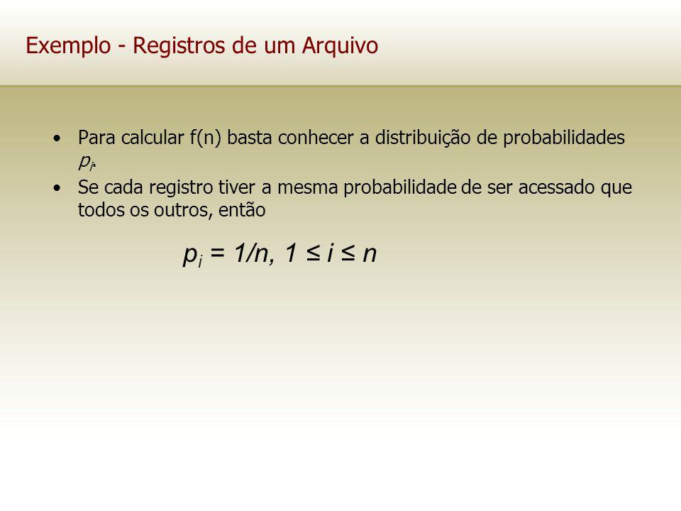 Exemplo - Registros de um Arquivo Para calcular f(n) basta conhecer a distribuição de probabilidades p i. Se cada registro tiver a mesma probabilidade
