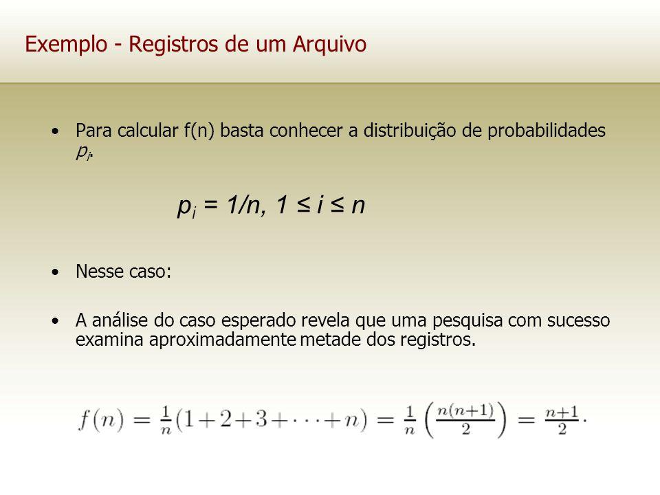 Exemplo - Registros de um Arquivo Para calcular f(n) basta conhecer a distribuição de probabilidades p i. Nesse caso: A análise do caso esperado revel