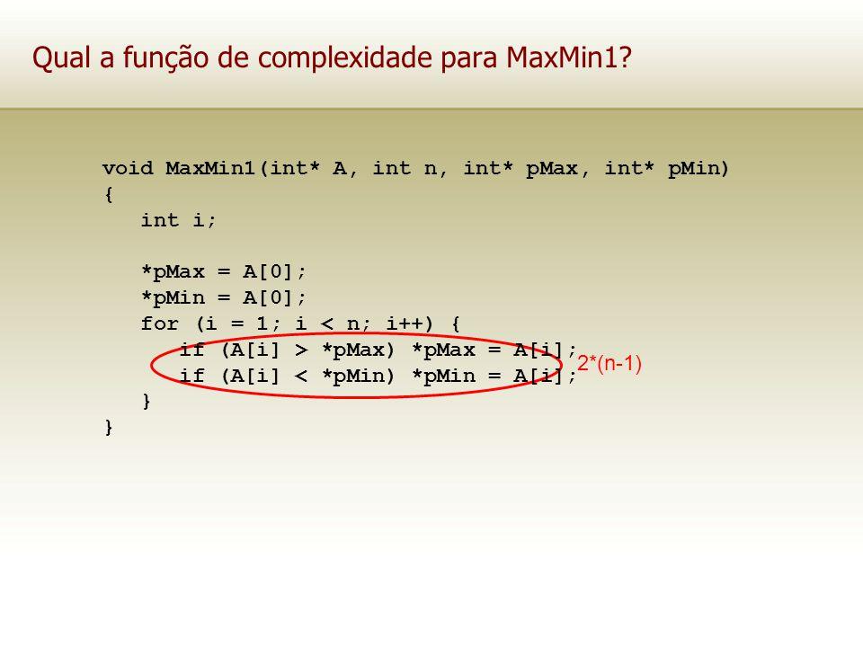 Qual a função de complexidade para MaxMin1? 2*(n-1) void MaxMin1(int* A, int n, int* pMax, int* pMin) { int i; *pMax = A[0]; *pMin = A[0]; for (i = 1;