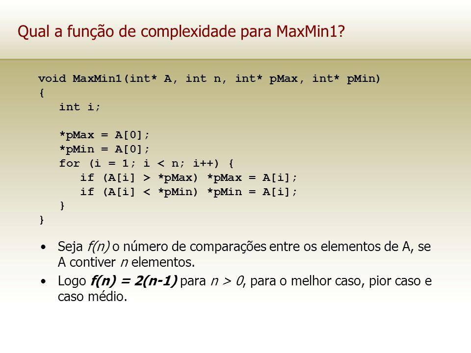 Qual a função de complexidade para MaxMin1? Seja f(n) o número de comparações entre os elementos de A, se A contiver n elementos. Logo f(n) = 2(n-1) p