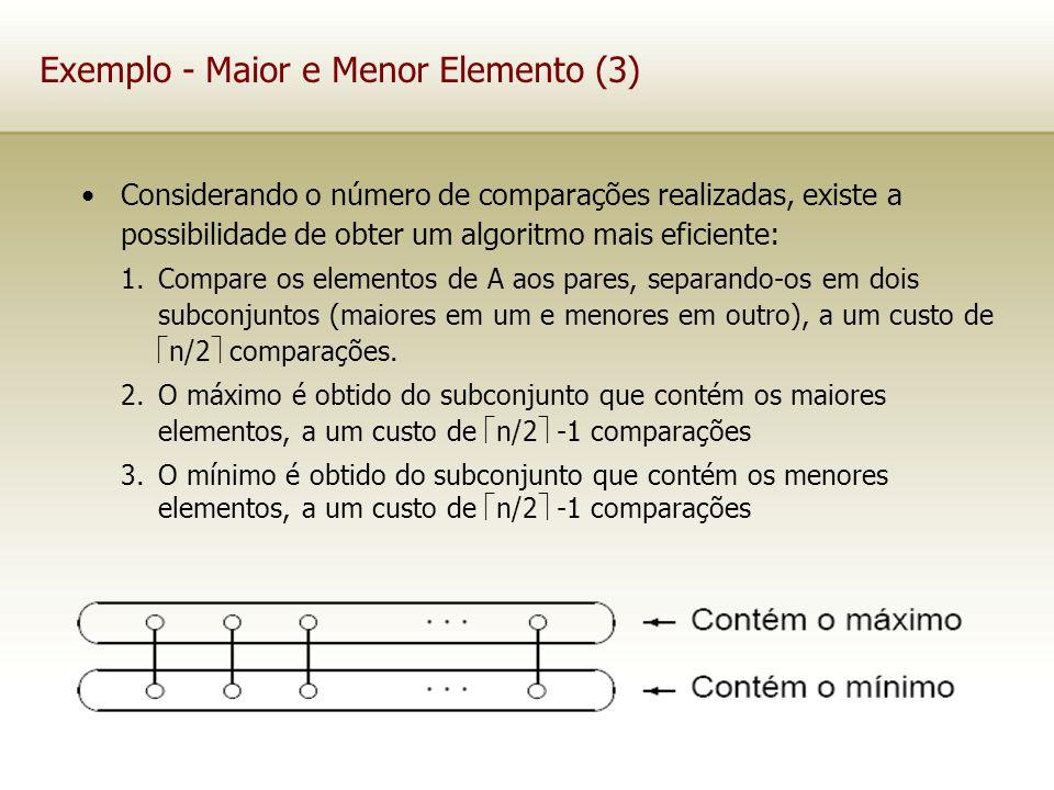 Exemplo - Maior e Menor Elemento (3) Considerando o número de comparações realizadas, existe a possibilidade de obter um algoritmo mais eficiente: 1.C