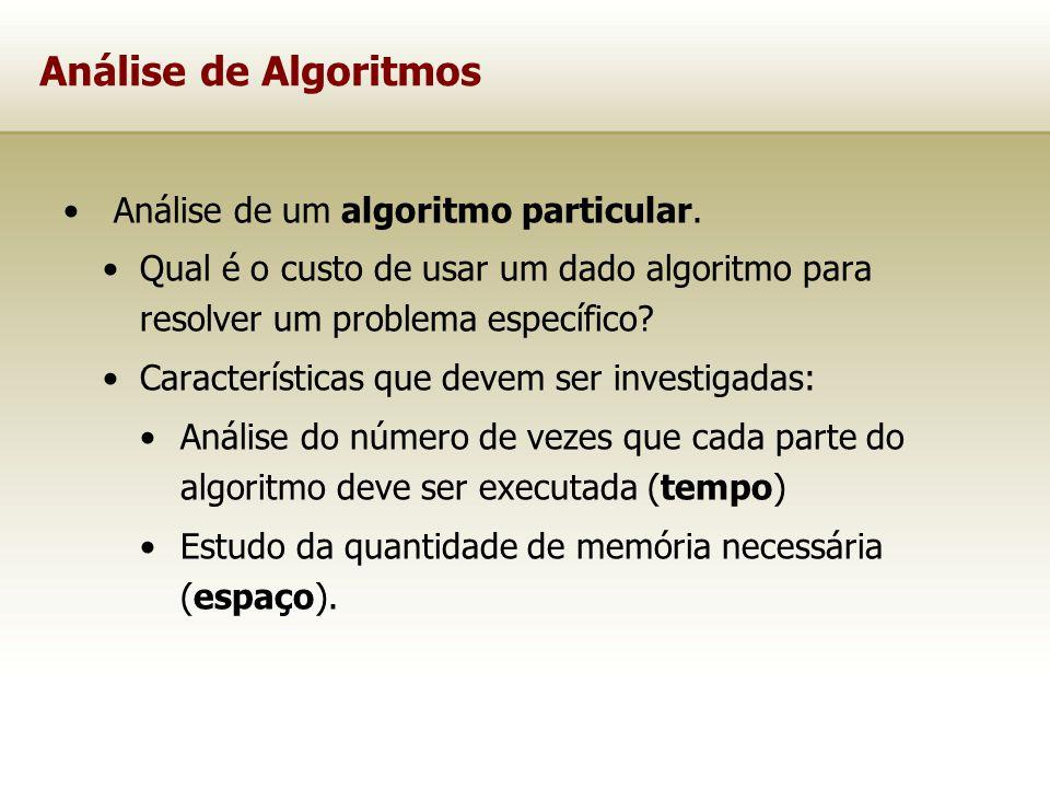Análise de um algoritmo particular. Qual é o custo de usar um dado algoritmo para resolver um problema específico? Características que devem ser inves