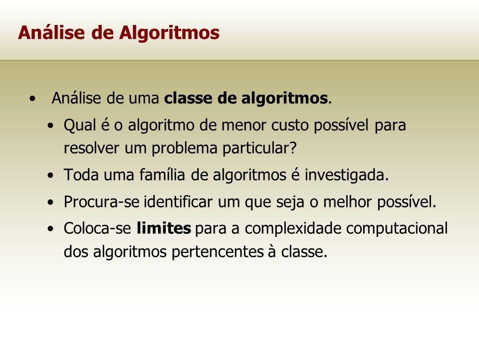 Análise de uma classe de algoritmos. Qual é o algoritmo de menor custo possível para resolver um problema particular? Toda uma família de algoritmos é