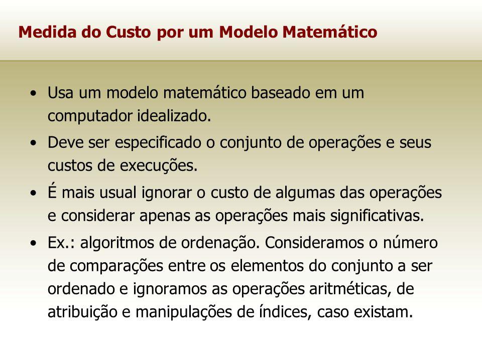 Para medir o custo de execução de um algoritmo é comum definir uma função de custo ou função de complexidade f.