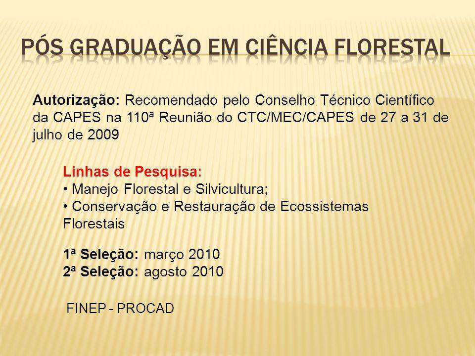 Autorização: Recomendado pelo Conselho Técnico Científico da CAPES na 110ª Reunião do CTC/MEC/CAPES de 27 a 31 de julho de 2009 1ª Seleção: março 2010