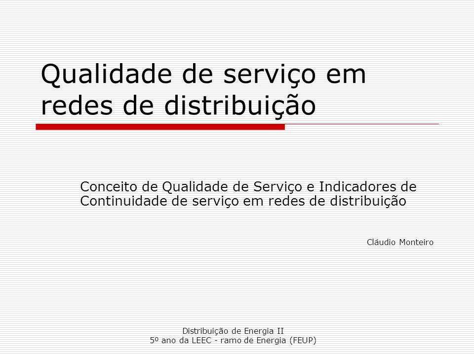 Distribuição de Energia II 5º ano da LEEC - ramo de Energia (FEUP) Qualidade de serviço em redes de distribuição Conceito de Qualidade de Serviço e In