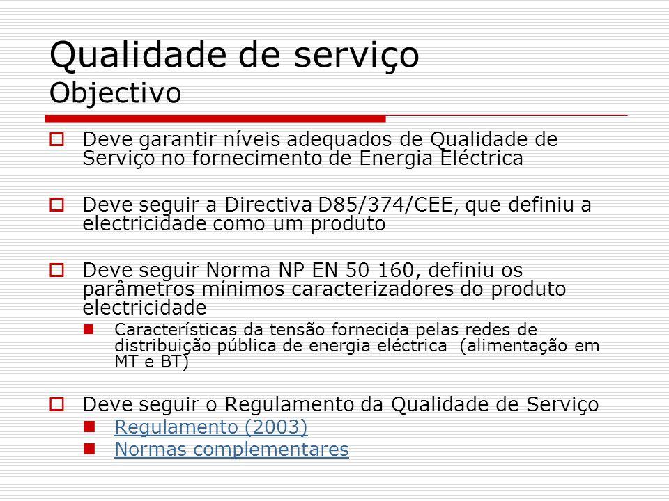 Qualidade de serviço Objectivo Deve garantir níveis adequados de Qualidade de Serviço no fornecimento de Energia Eléctrica Deve seguir a Directiva D85