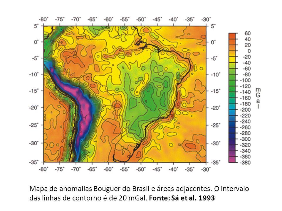 Mapa de anomalias Bouguer do Brasil e áreas adjacentes. O intervalo das linhas de contorno é de 20 mGal. Fonte: Sá et al. 1993