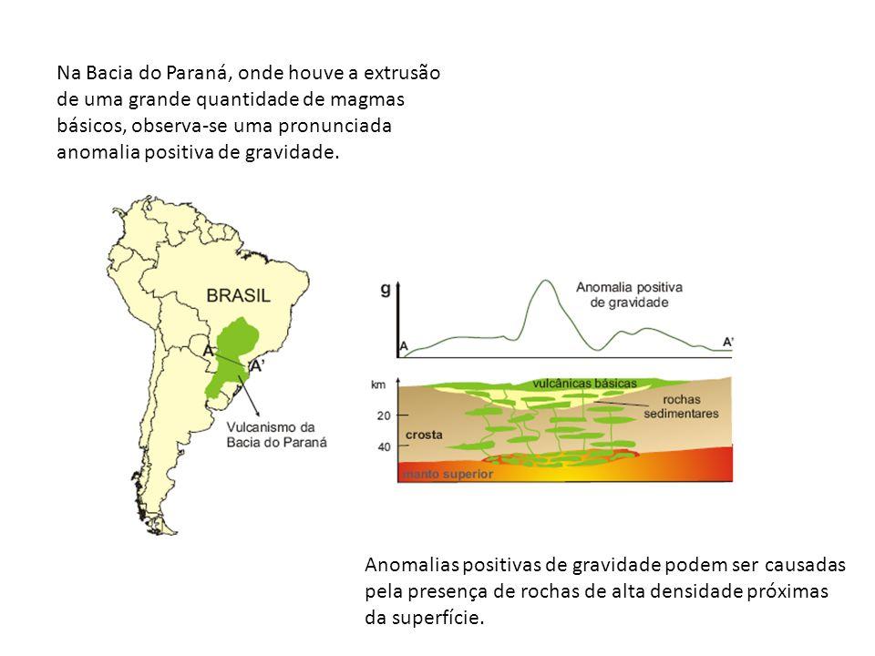 Anomalias positivas de gravidade podem ser causadas pela presença de rochas de alta densidade próximas da superfície. Na Bacia do Paraná, onde houve a