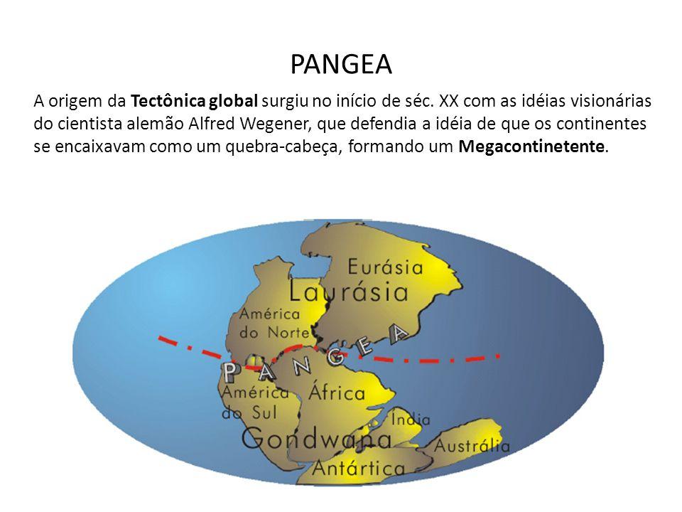 PANGEA A origem da Tectônica global surgiu no início de séc. XX com as idéias visionárias do cientista alemão Alfred Wegener, que defendia a idéia de