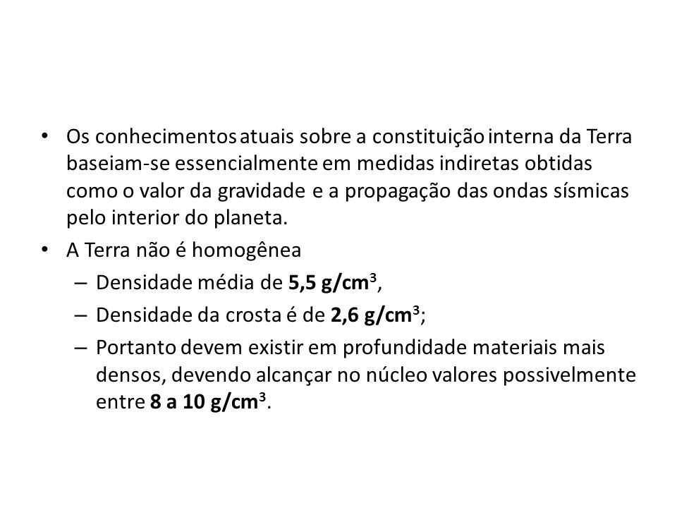 Variação da densidade de algumas rochas e suas médias.