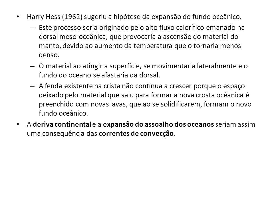 Harry Hess (1962) sugeriu a hipótese da expansão do fundo oceânico. – Este processo seria originado pelo alto fluxo calorífico emanado na dorsal meso-