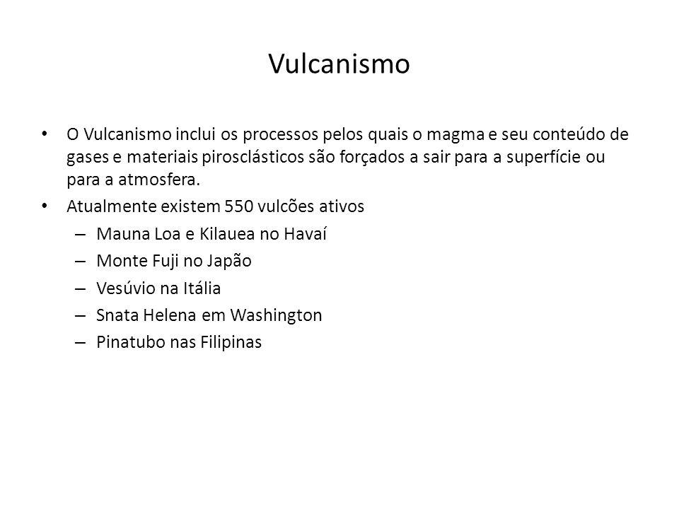 Vulcanismo O Vulcanismo inclui os processos pelos quais o magma e seu conteúdo de gases e materiais pirosclásticos são forçados a sair para a superfíc