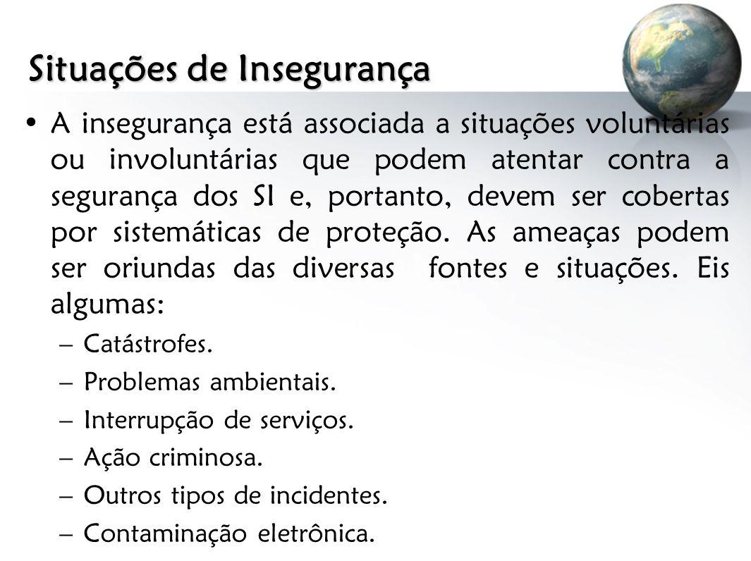 Situações de Insegurança A insegurança está associada a situações voluntárias ou involuntárias que podem atentar contra a segurança dos SI e, portanto