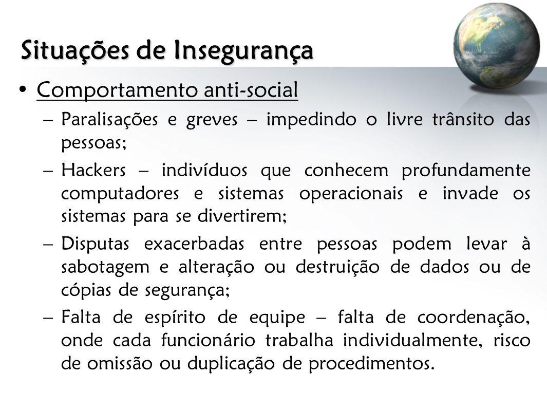 Situações de Insegurança Comportamento anti-social –Paralisações e greves – impedindo o livre trânsito das pessoas; –Hackers – indivíduos que conhecem