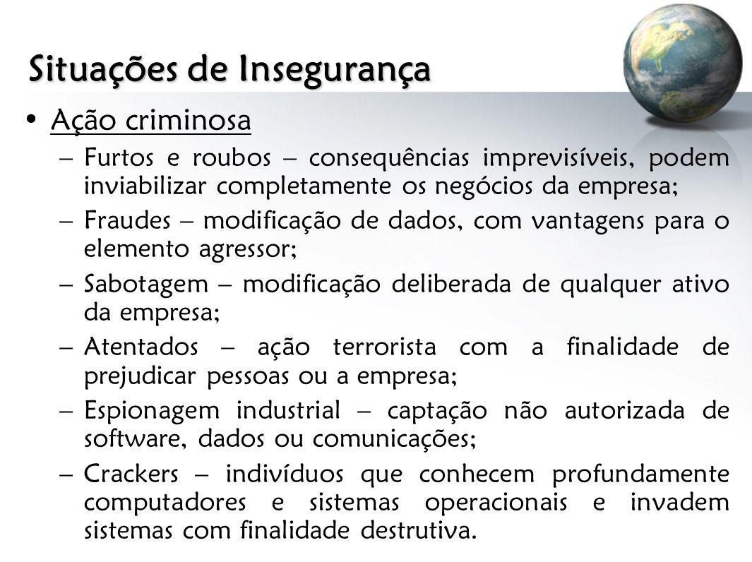 Situações de Insegurança Ação criminosa –Furtos e roubos – consequências imprevisíveis, podem inviabilizar completamente os negócios da empresa; –Frau