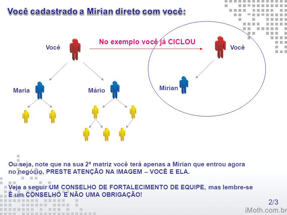 Você Maria Mário No exemplo você já CICLOU Você Mirian Ou seja, note que na sua 2ª matriz você terá apenas a Mirian que entrou agora no negócio, PREST