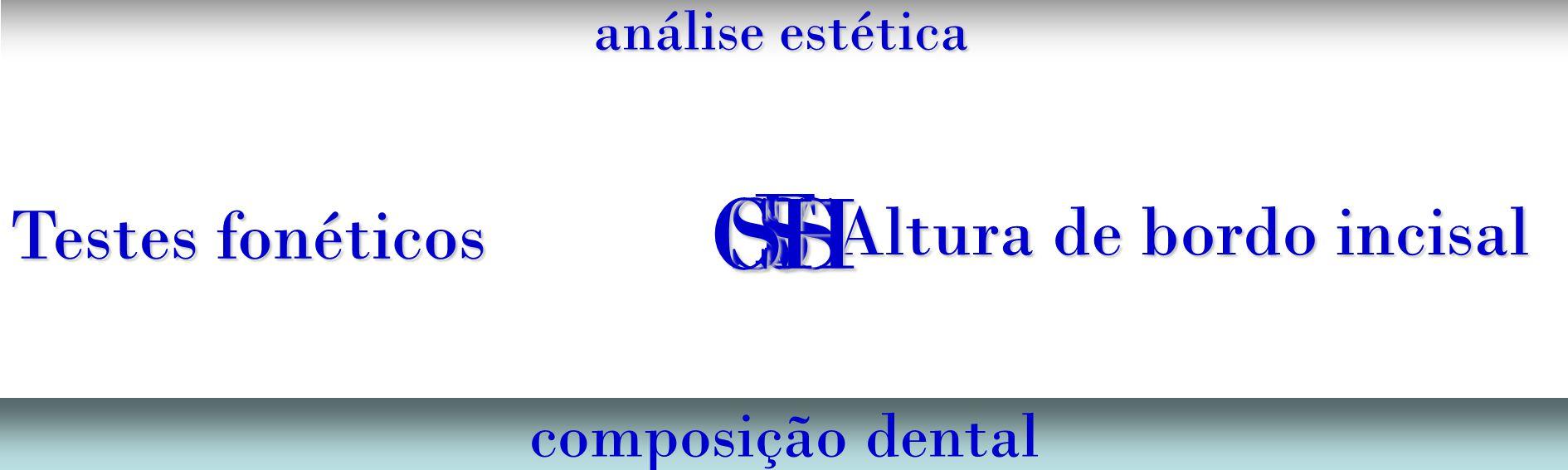 análise estética composição dental Altura de bordo incisal Testes fonéticos F VSSSCH