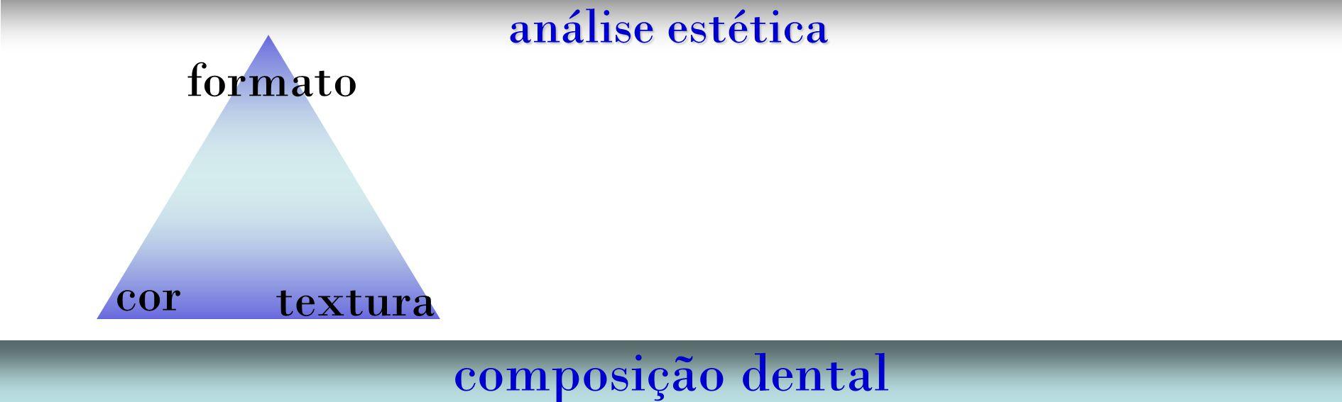 análise estética composição dental cor formato textura