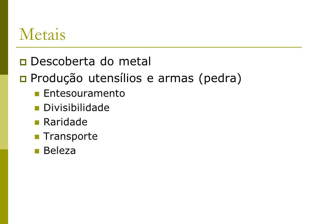 Metais Descoberta do metal Produção utensílios e armas (pedra) Entesouramento Divisibilidade Raridade Transporte Beleza